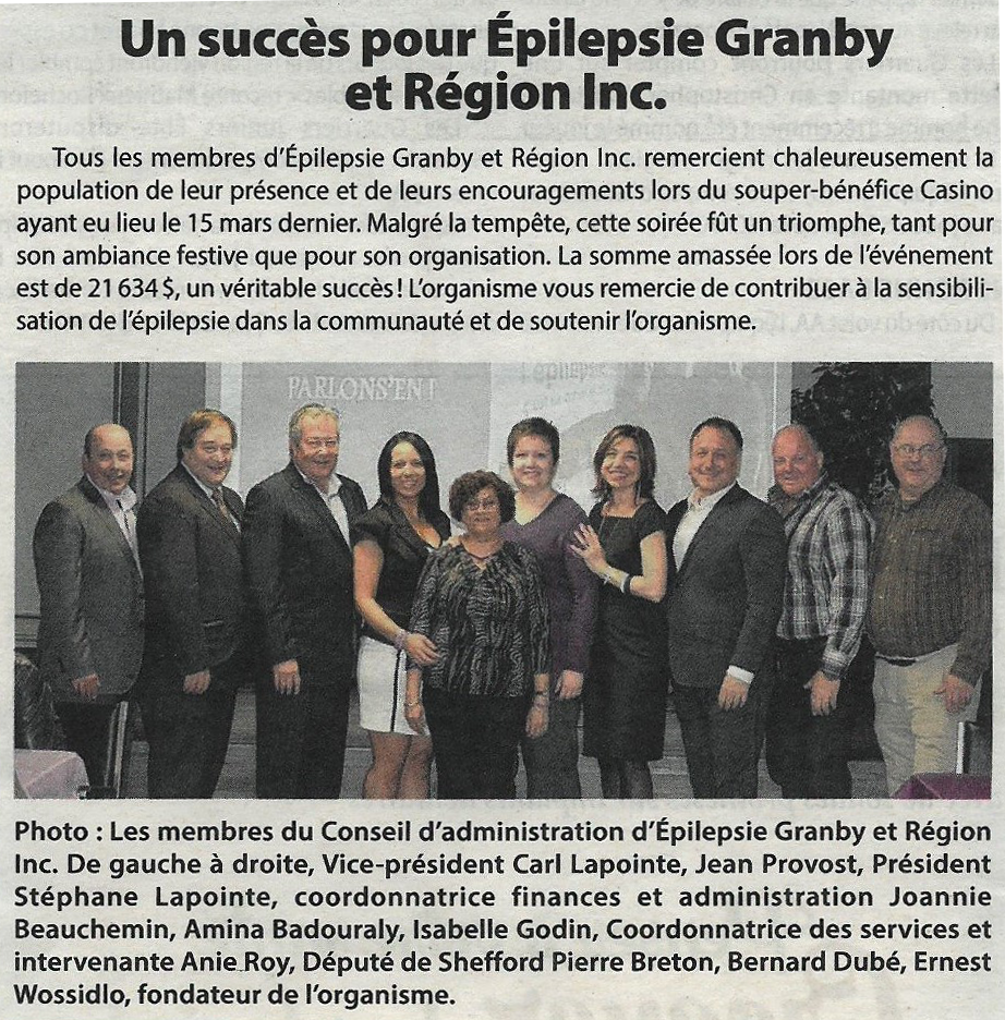 Succès pour Épilepsie Granby et Région Inc.